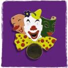"""Karnevalsorden / Kinderorden """"Clown mit Masken"""", für Auflage 27 mm RESTPOSTEN 67 Stück"""