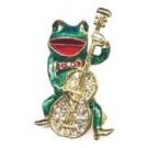 """Brosche """"Frosch mit Cello"""" - Sonderangebot bei Abnahme Reststückzahl 41 Stück € 130,--"""