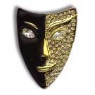 """Brosche """"Maske"""", schwarz/gold, mit viel Strass"""