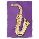 "Brosche ""Saxophon"", vergoldet"